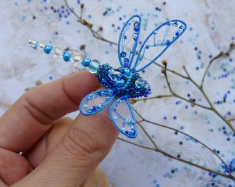 Beaded dragonfly pin - Dragonfly jewelry - Embroidered dragonfly - Insect art brooch - Blue Dragonfly - Dragonfly pin - Birthday gift