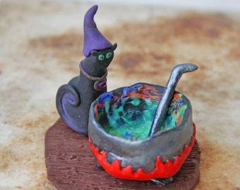 Cat Figurine Black Cat in the Witch Hat Figurine Polymer Clay Cat Figurine Halloween Decor Halloween Clipart WitchCraft