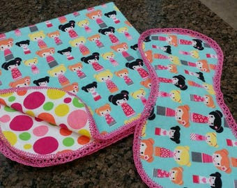 Doll size blanket and burp cloth set with crocheted edging