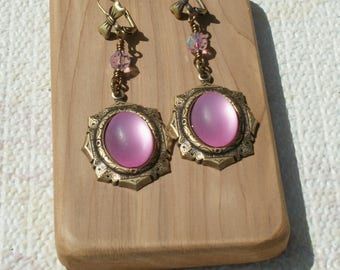 Pink Moonstone Brass Ox Earrings