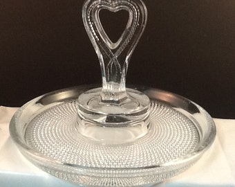 "LE Smith ""Tiny Hobnails"" Heart-Handled Tidbit Tray"