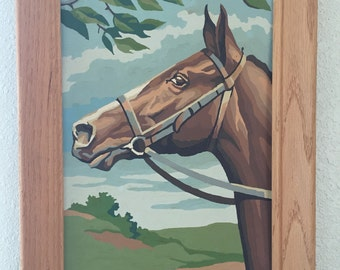 Vintage Paint by Numbers Horse Painting • Framed Horse Painting