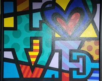 Love Pop Art by Jozza is Original oil Painting and Framed with black floater frame,(32 x32)
