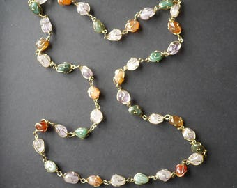 Wire wrapped gemstone vintage necklace, various gemstones in gold tone wire