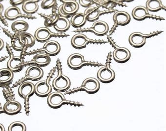 100 Silver Plated Screw Eye Pendant Bails Pins 8x4mm Jewellery Making