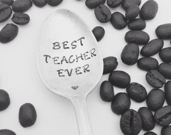 Best teacher coffee spoon, handstamped spoon, teacher gift, teacher appreciation