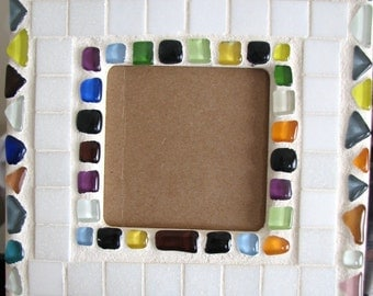 White and multicoloured mosaic frame