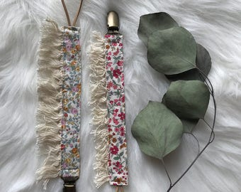 Floral boho pacifier clips