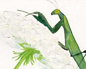 Card, Watercolor Praying Mantis