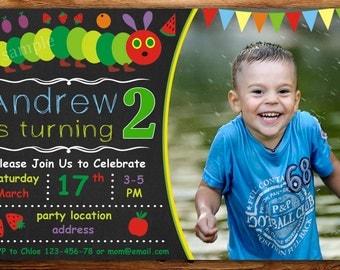 Very Hungry Caterpillar Birthday Invitation,Very Hungry Caterpillar party, Caterpillar Birthday Invitation -DIGITAL FILE (Azx)