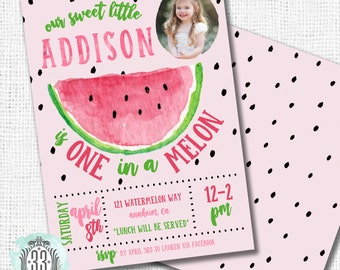 One in a Melon Invitation - DIGITAL OR PRINTED