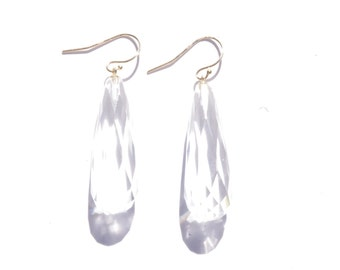 Stunning 14K Yellow Gold and Clear Quartz Briolette Drop Earrings