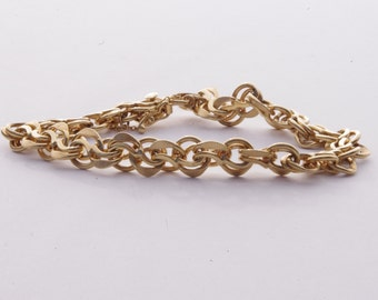 Vintage 14K Yellow Gold Textured Double Link Charm Bracelet