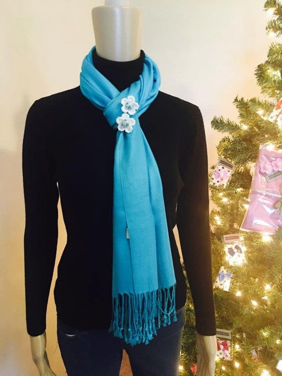 Blue scarf and handmade flower brooch set! High Quality Pashmina 100% Cashmere