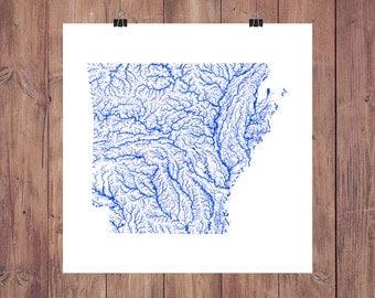 Arkansas Map - High Res Digital Map of Arkansas Rivers / Arkansas Print / Arkansas Art / Arkansas Poster / Arkansas Wall Art / Arkansas Gift