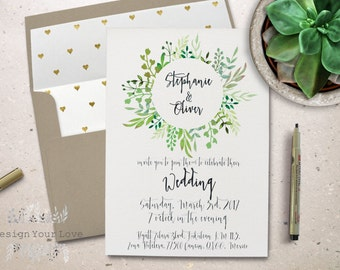printable green wedding invitation printable garden wedding invite leafy greenery wreath watercolor greens calligrapgy wedding invitation