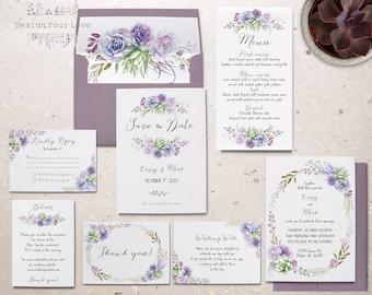 succulents wedding invitation set printable wedding invitation suite purple lavendar sage wedding invitations boho wedding floral invitation