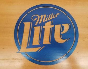 Miller Lite sign metal wall art plasma cut decor light beer mancave