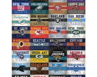 Complete Set 32 Officially Licensed NFL Football Vintage Stickers Decal Logo Team Emblem Cowboys Steelers Packers Patriots 49ers Giants Jets