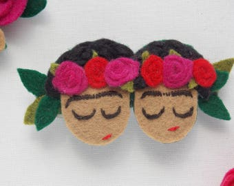 Twin Frida's face barrette in felt