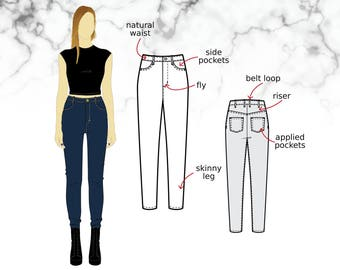 XS-XL Skinny stretch jeans with high waist, pockets and belt loops, trousers/pants (PDF sewing pattern for stretch denim) Kommatia Patterns