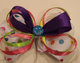Rainbow Polka-Dot Hair Bow