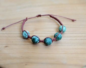 Jasper shamballa green macrame bracelet