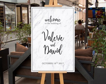 Marble Wedding Welcome Poster,  Modern CUSTOM Printable Wedding Welcome Sign, Black and White marble sign, Welcome Signage, Printable 20x30