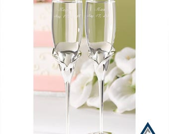 Calla Lily Flutes-Personalized wedding toasting flutes