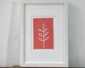 Linoprint, linocut, salmon pink, floral, original artwork, abstract art, print art, fine art, minimal, scandi, spiritual, nature, garden