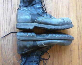 Jump boot Vibram sole cloth leather black lace up paratrooper military work distressed worn men's 11.5/12 US cordura tall Marauder Corcoran