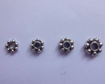 Bulk Supply 100/ 200 / 500 pcs Lovely  Pewter Daisy Flower Spacer Beads - Sizes 4mm, 4.5mm, 5mm and 6mm Antique Silver