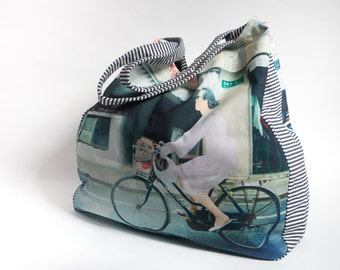 "XL Shopper Tote Bag Windeltasche Diaper Bag Strandtasche Beach Bag Einkaufstasche Canvas Bag Yoga ""Biking Lady"""