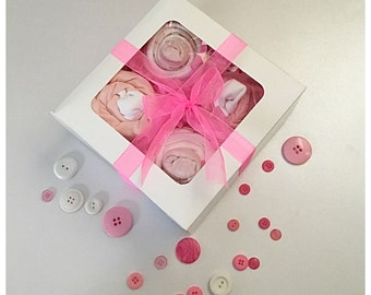 Baby girl gift set, handcrafted, beautiful gift, box set, baby boy, nappys, diapers, ribbon bow