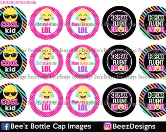 33% off SALE- Cool Kid - INSTANT DOWNLOAD - 1 inch Bottle Cap Images