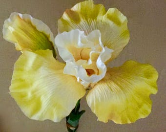 "THREE 34"" Golden Yellow Silk IRIS Flowers With One 5"" Bloom & One 1-1/2""x3"" Bud From American Best Inc. * Very Realistic Designer Quality"