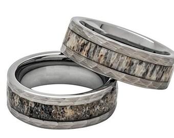 same day shipping reg 39900 8mm deer antler ring in tungsten hammered finish comfort - Antler Wedding Rings