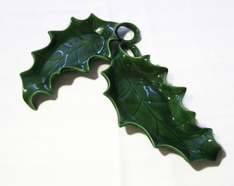 Holland Mold Leaves Green Christmas Holiday Serving Trays