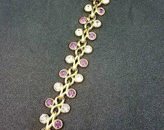 "Vintage Swarorski Crystal Shades of Purple Bracelet 6 3/4"" Goldtone"