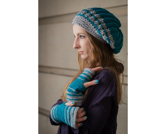 Matching Winter Set, Knitted Slouchy Hat, Fingerless Gloves, Dread Hat and Gloves Set, Tam Hat, Arm Warmers, Teal Hat and Gloves Set, Gift