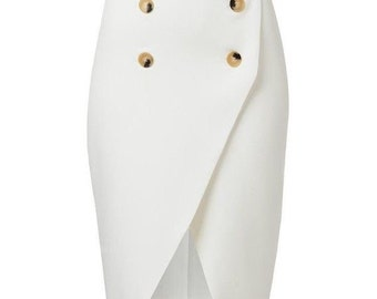 Fresh white button wrap skirt dress