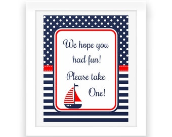 Baby Shower Nautical Printables - Digital Print - Red White Blue - Nautical Party Sign - Nautical Baby Shower Sign - Baby Party Printables