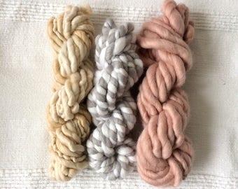 Weaver's yarn pack handspun weaving art yarn pack merino thick wool for weavers single pastel weaver's yarn