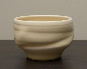 Asymmetrical Yellow Studio Art Pottery Vase, Signed