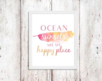 Ocean Quote - Instant Download - Watercolor Print - Bathroom Decor - Wall Decor - Word Art - Digital Artwork - Printable Quote - Ocean Art