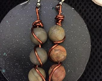 Jasper stone, dangle, copper wire wrapped earrings