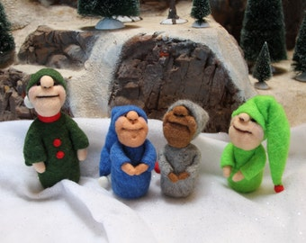 Handcrafted Needle Felted Wool Christmas Doll - Pixies