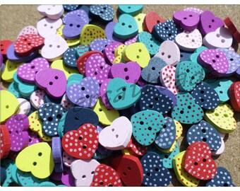 15mm polka dot heart buttons, Polka dot buttons, Heart buttons, Craft buttons, Sewing buttons, Buttons, Scrapbooking, Hearts, Polka dot