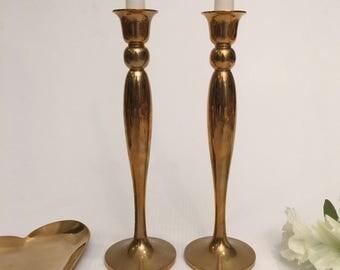 Aged Brass Candlesticks-Cinnamon Colored Patina
