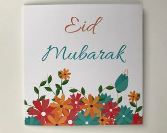Floral Eid Mubarak Card